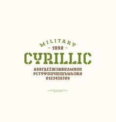 Cyrillic stencil-plate slab serif font vector