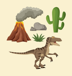 Dinosaurs elements cartoon vector