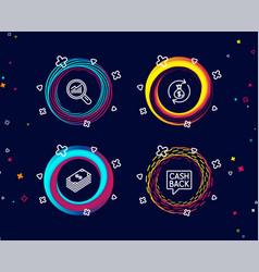 dollar money exchange and data analysis icons vector image