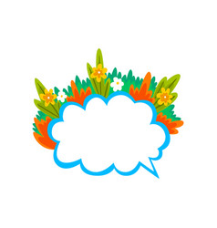 empty speech cloud decorated with summer plants vector image