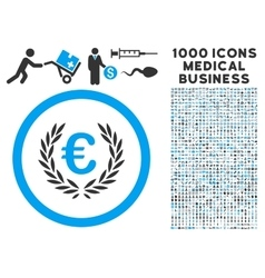 Euro Glory Icon with 1000 Medical Business Symbols vector