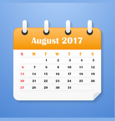 European calendar for august 2017 vector