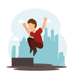 Extreme sports parkour design isolated vector