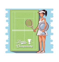 female player tennis character vector image