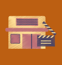 Flat icon in shading style building cinema vector