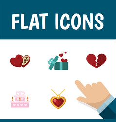 flat icon love set of divorce patisserie gift vector image
