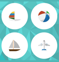 flat icon season set of aircraft yacht sphere vector image
