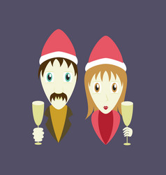 Flat on background of man woman wine glasses vector