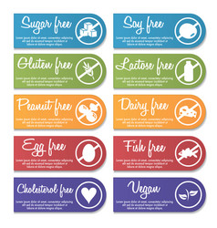 food nutrition information label banner set vector image