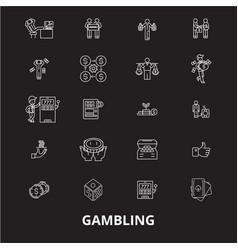 gambling editable line icons set on black vector image