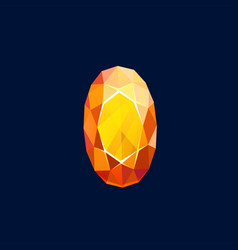 gem stone magic crystal icon oval faceted rock vector image