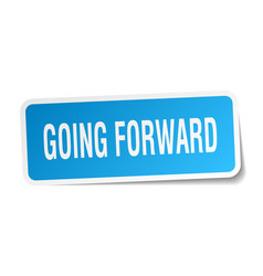 Going forward square sticker on white vector