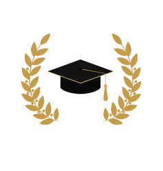 gold emblem class on white background graduate vector image