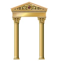 Golden vintage arch portal baroque vector