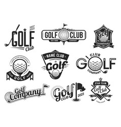Golf sport club labels team championship signs vector