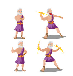 greek gods thunder cartoon set vector image