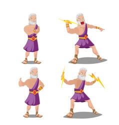 Greek gods thunder cartoon set vector