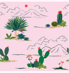 Hand drawing cactus and succulent plants pattern vector