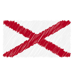 hand drawn national flag of alabama isolated on a vector image