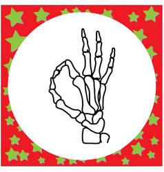 Hand drawn skeleton hand with ok sign vector