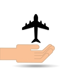 hand holding airplane design vector image