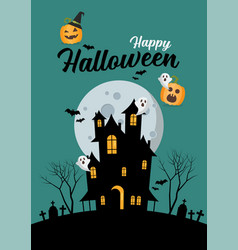 happy halloween haunted house greeting card vector image