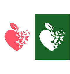 Heart shaped apple icon with flying butterflies vector