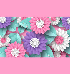 Horizontal paper cut 3d flowers background in pink vector