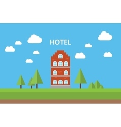 hotel concept with building standing blue sky vector image