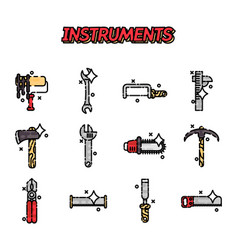 instruments flat icons set vector image