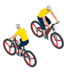 isometric modern electric bicycle icons a man vector image