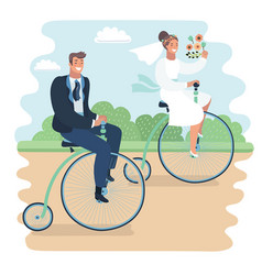 Just married on bycicle vector