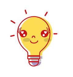 kawaii cute happy bulb idea vector image