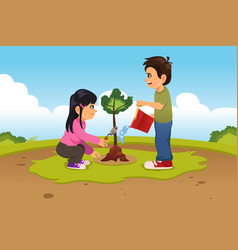 Kids planting and watering a tree vector