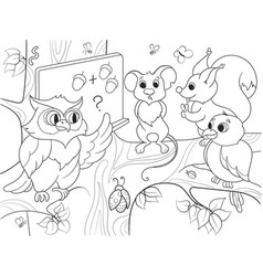 Lesson in the school of an owl in the woods vector