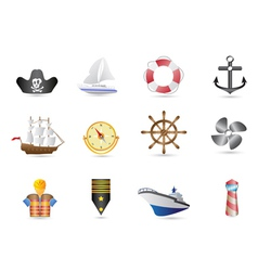Marine Sailing and naval icons vector image