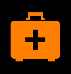 medical first aid box sign orange icon on black vector image
