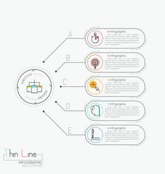 Modern infographic design template five text vector