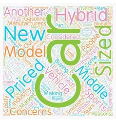 New hybrid cars text background wordcloud concept vector