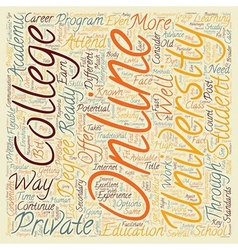 Online Private College And Universities text vector