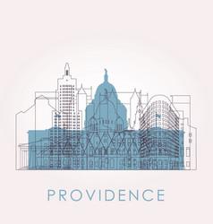 outline providence skyline with landmarks vector image
