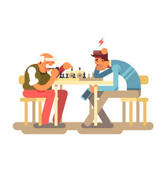 people play chess game vector image
