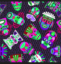 Pink and green masks on dark seamless pattern vector