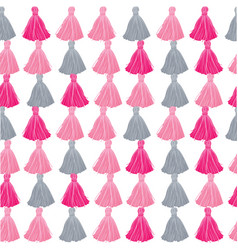 Pink and grey decorative tassels rows vector