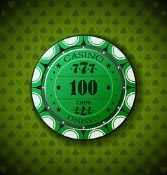 Poker chip nominal one hundred on card symbol vector