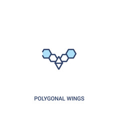 Polygonal wings concept 2 colored icon simple vector