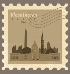 Post stamp with name of washington vector