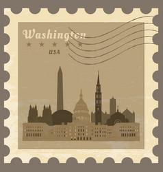 post stamp with name of washington vector image