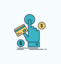 Ppc click pay payment web flat icon green and vector