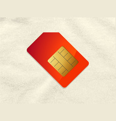Red and gold telephone sim card on crumpled vector